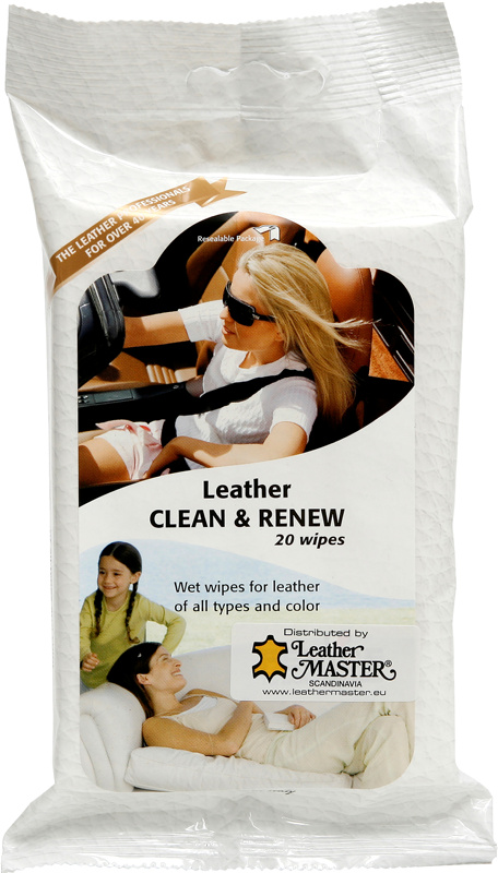 Leather Clean & reneew wipes 20 stk